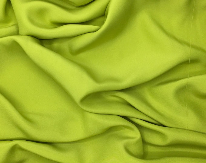High quality silky crepe back satin, close to genuine silk crepe. Apple green no30