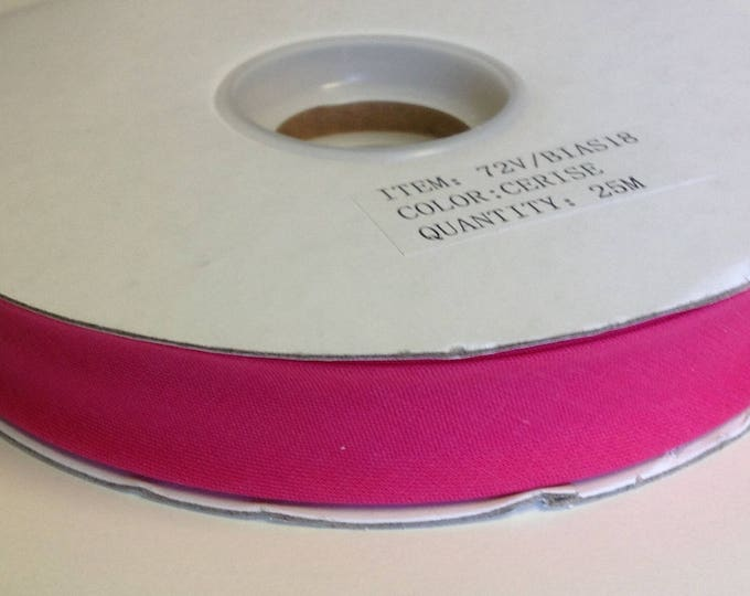 Roll of 25m on f polycotton bias ribbon 18mm, fuchsia