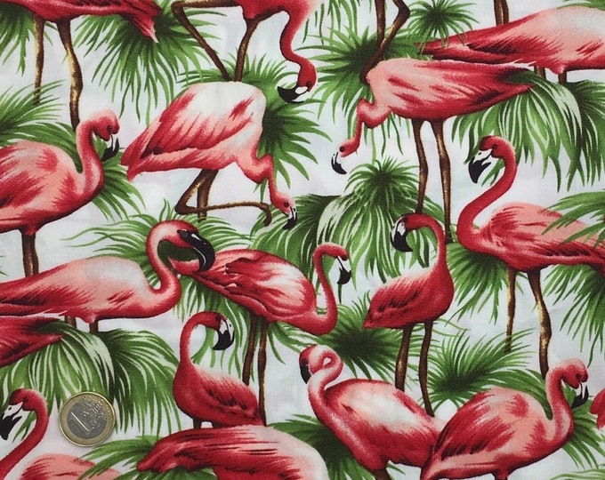 High quality cotton poplin dyed in Japan with flamingoes