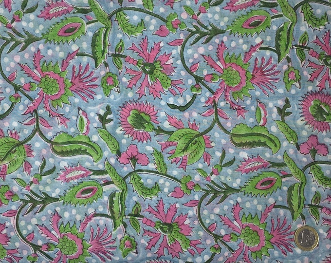 Indian block printed cotton voile, hand made. Baby blue Jaipur