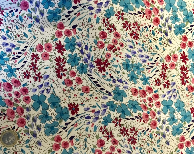 English Pima lawn cotton fabric, floral print