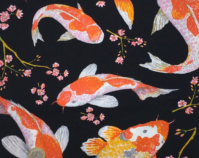 High quality cotton poplin, koi fishes or gold fish on black