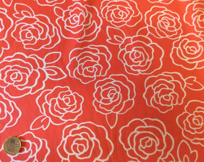 High quality cotton poplin, retro roses print on coral