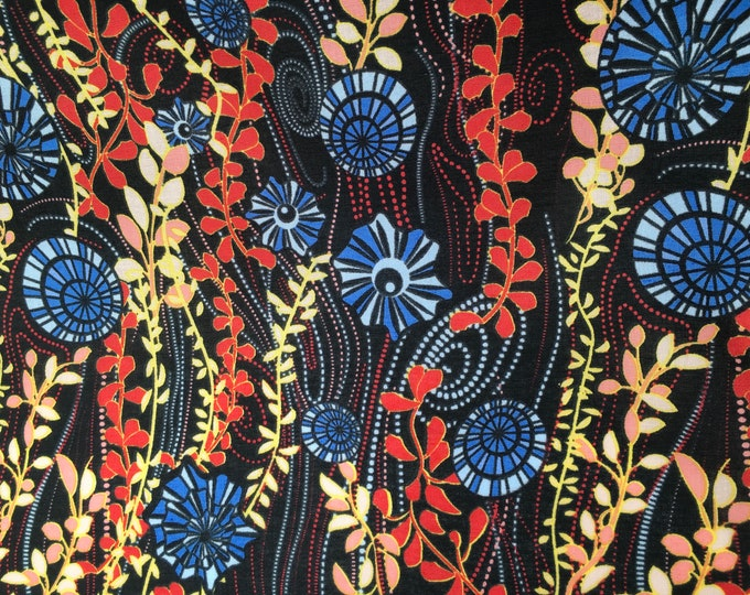 London lawn cotton fabric, priced per 25cm, Sea weed, midnight