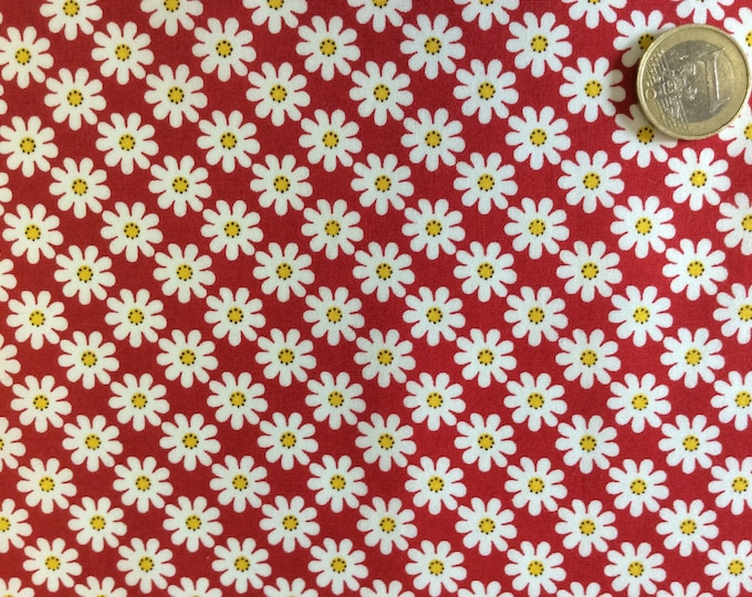 High quality cotton poplin, vintage floral print on red