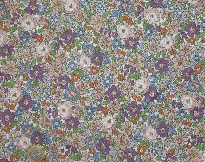 High quality cotton poplin dyed in Japan with lilac floral print