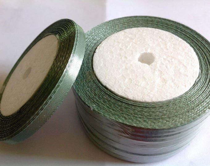 Roll of 22.5m of satin ribbon single face, green kakhi no55