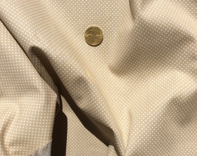 High quality cotton poplin, polka dots on beige