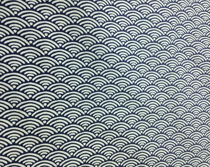 High quality cotton poplin. Sashiko print on navy