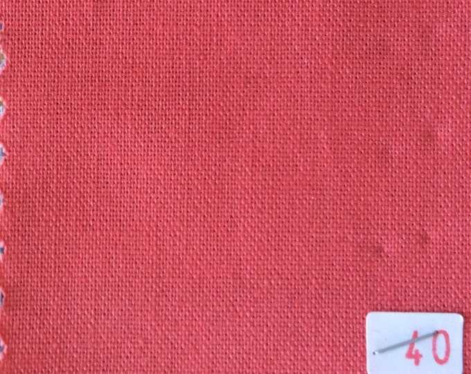 High quality soft cotton canvas dyed in Japan. Coral nr40