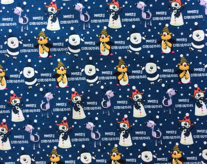 High quality cotton poplin, Christmas print on blue
