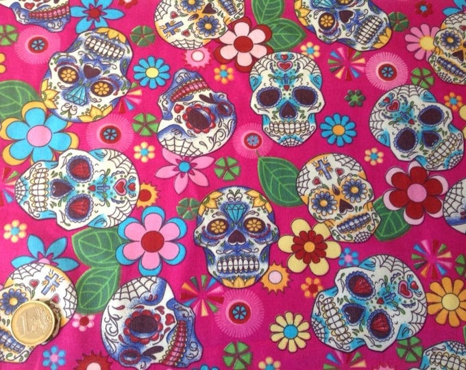 High quality cotton poplin, mexican skulls