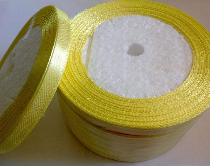 Roll of 22.5m of satin ribbon single face, yellow lemon no51