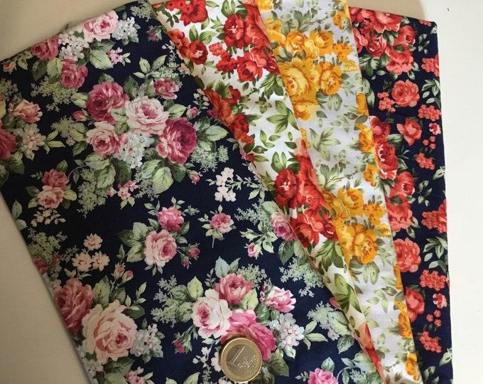 Total 1m 4pc, 25cm*1m12) floral cotton poplin