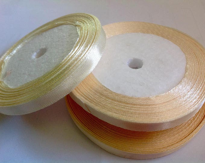 Roll of 22.5m of satin ribbon single face, ivory no08