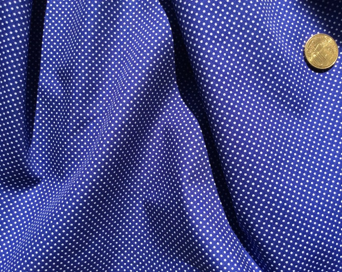 High quality cotton poplin, royal blue polka dots