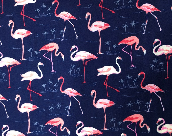 Cotton poplin with floral and flamingoes on navy