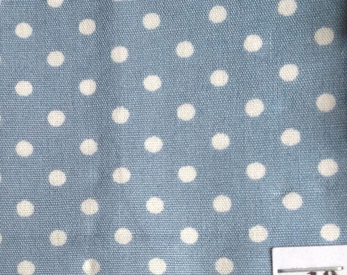 High quality cotton poplin, white polka dots on pigeon blue no10