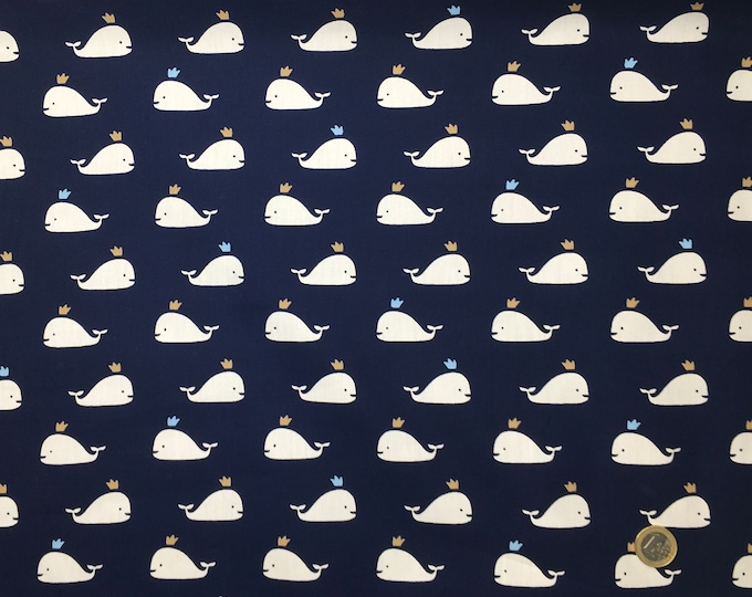 High quality cotton poplin dyed in Japan with whales on navy