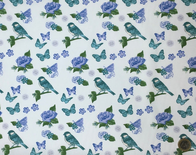 Huh quality cotton poplin, vintage bird print