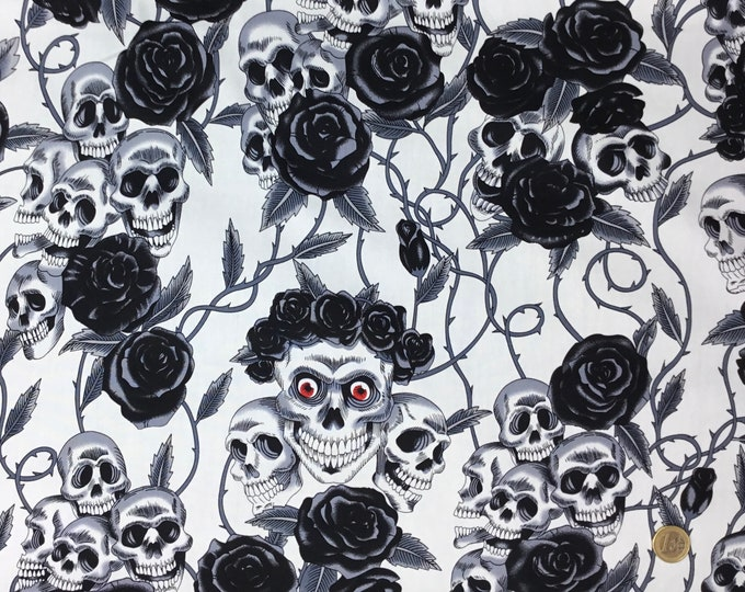 Cotton poplin with skeletons, skulls and roses