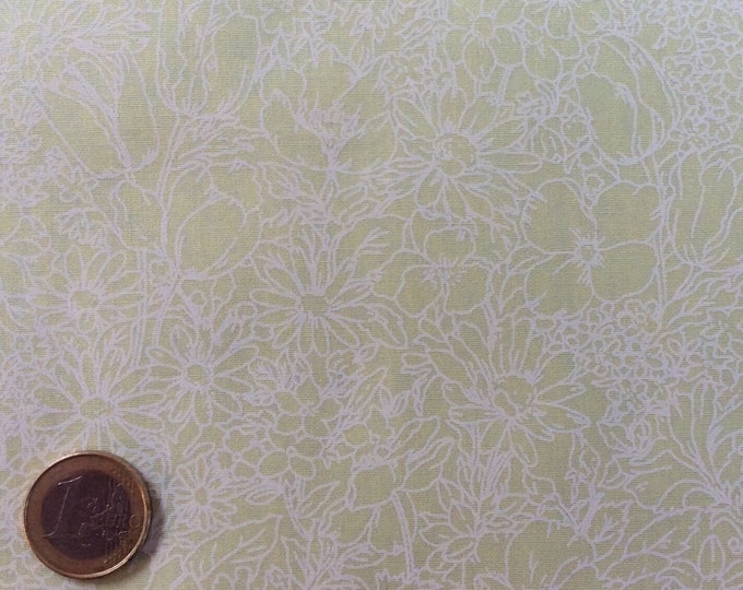 High quality cotton poplin, white floral print on green