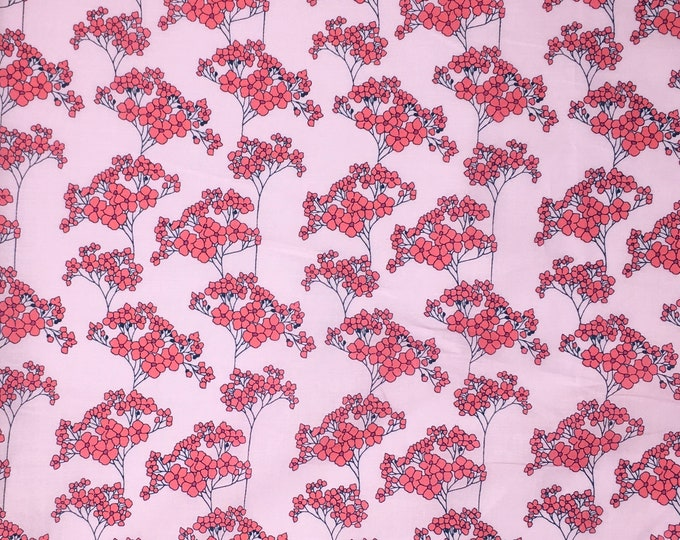 London lawn cotton fabric, priced per 25cm, pink Field