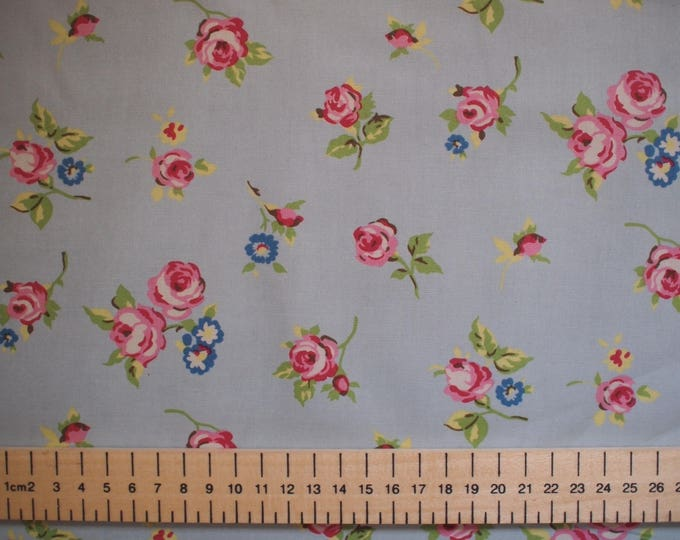 High quality cotton poplin, vintage rose print on blue