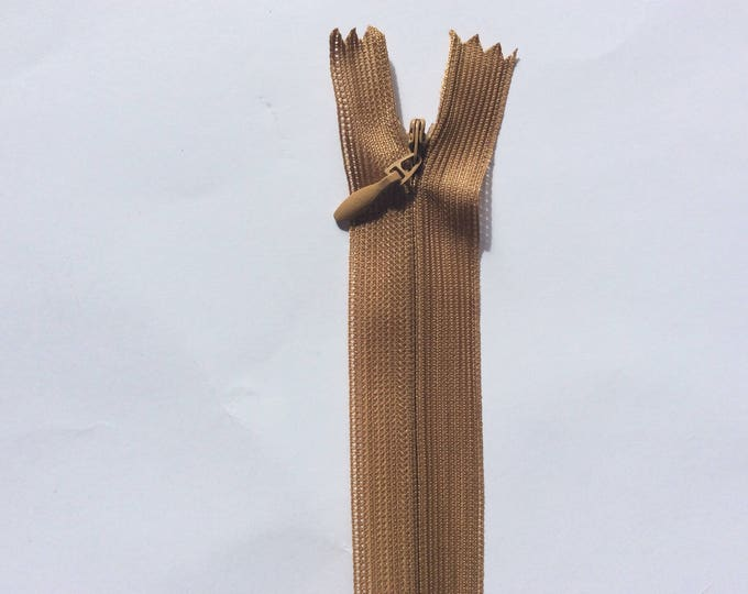 """Invisible concealed zippers, 60cm (24""""), dark mustard"""