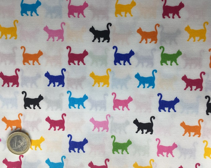 High quality cotton poplin dyed in Japan with cats