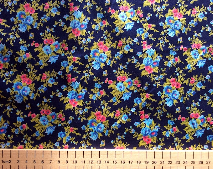 High quality cotton print, floral on navy