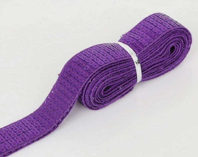 Purple Square sequin or sequined ribbon, 25mm or 1 » wide, sold per meter