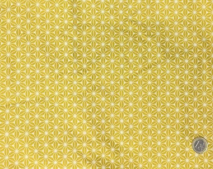High quality cotton poplin. Mustard Sashiko print
