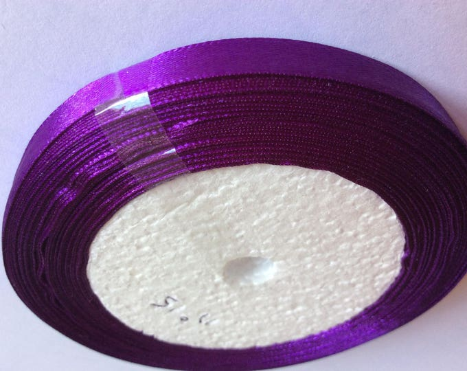 Roll of 22.5m of satin ribbon single face, purple no 35