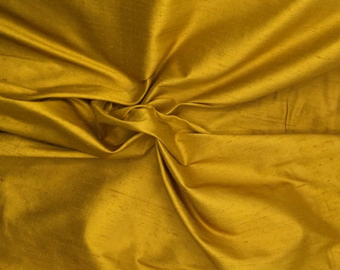 Pure silk fabric, curry color