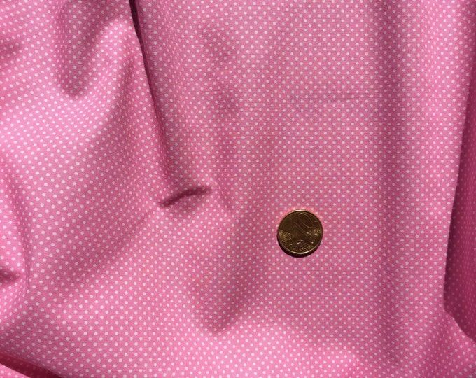 High quality cotton poplin dyed in Japan with 2mm polka dots, mid pink