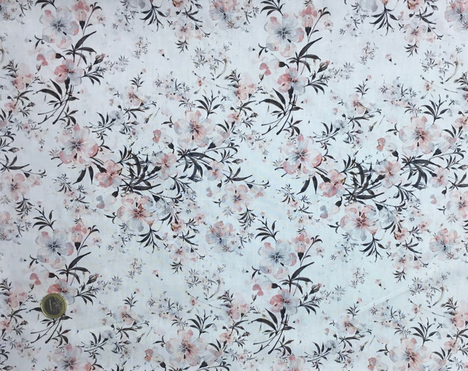 High quality cotton poplin, digital floral print on off white