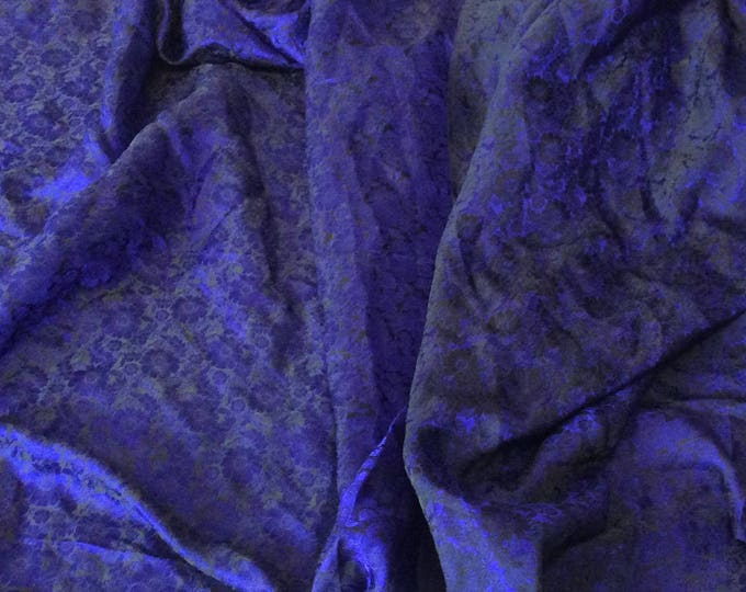 Silk sateen fabric, black and blue floral woven print