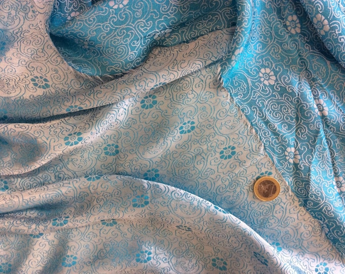 Silk sateen fabric, ice blue abstract brocade woven print