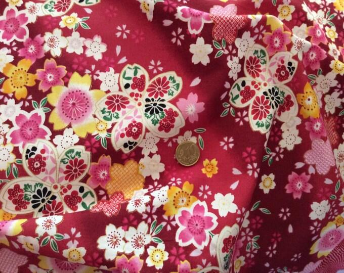 High quality cotton poplin, red Japanese print