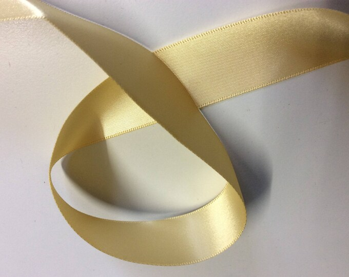 Double sided sateen ribbon, soft yellow