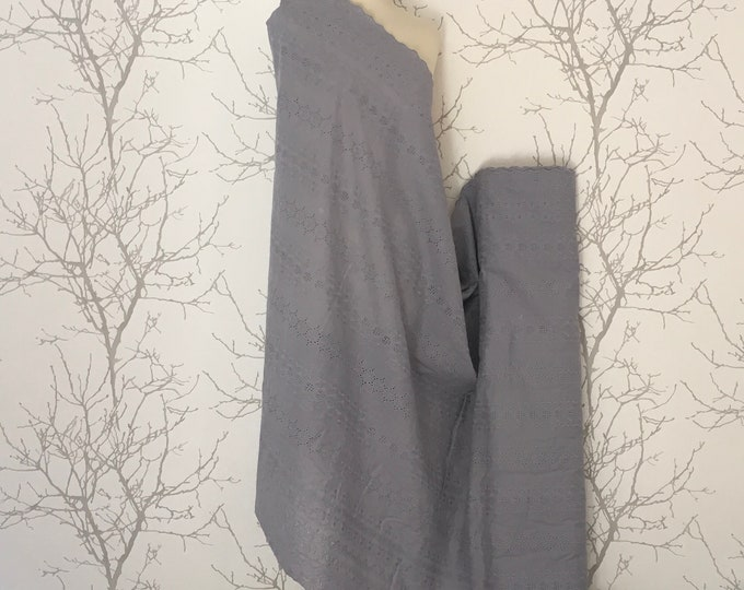 Grey embroidery anglaise, eyelet or broderie anglais cotton fabric, scalloped edges