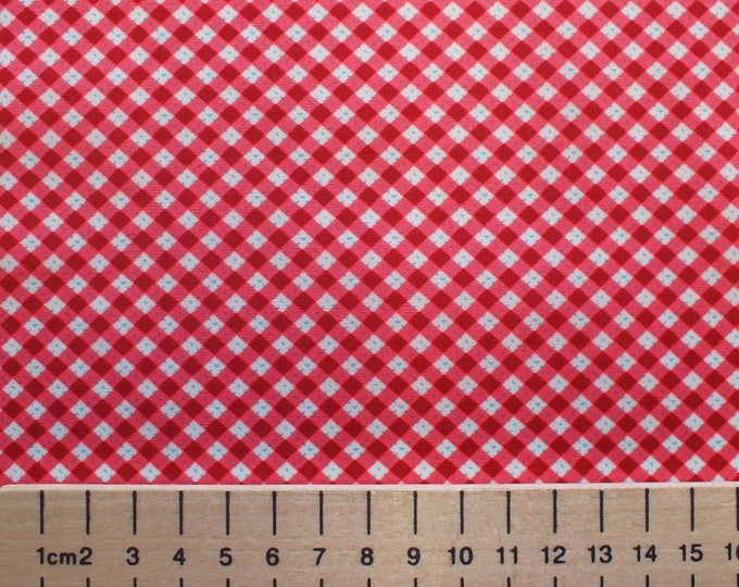 High quality cotton poplin, vintage check print, red