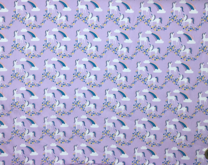 High quality cotton poplin, unicorns on lilac