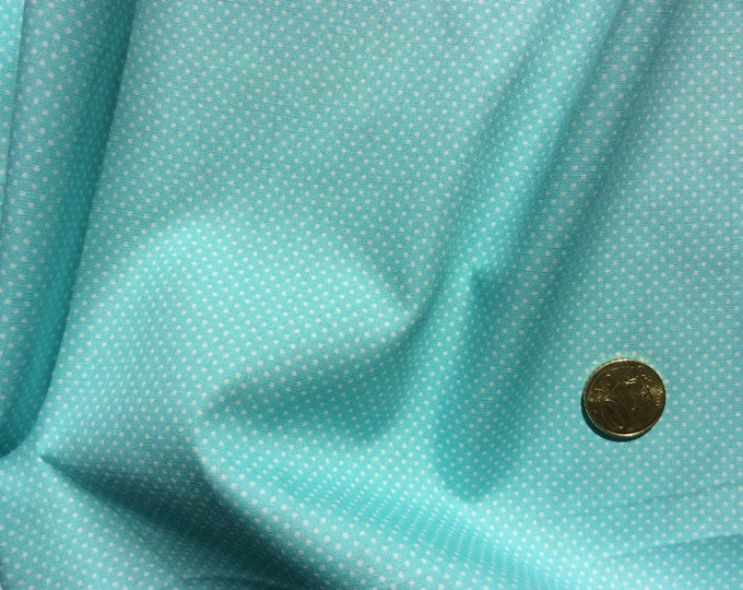 High quality cotton poplin dyed in Japan with 2mm polka dots pastel green (turquoise)