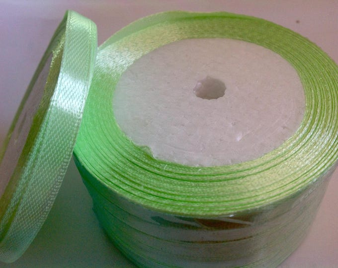 Roll of 22.5m of satin ribbon single face, almond green no12
