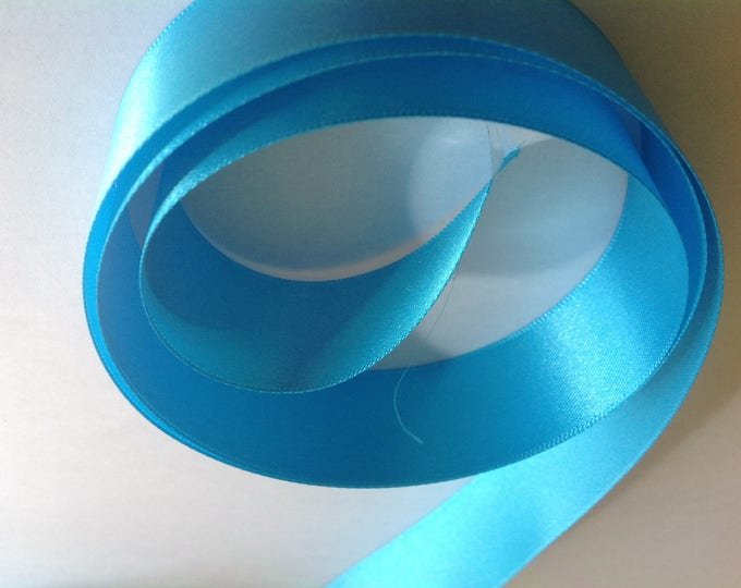 Double sided sateen ribbon, turquoise