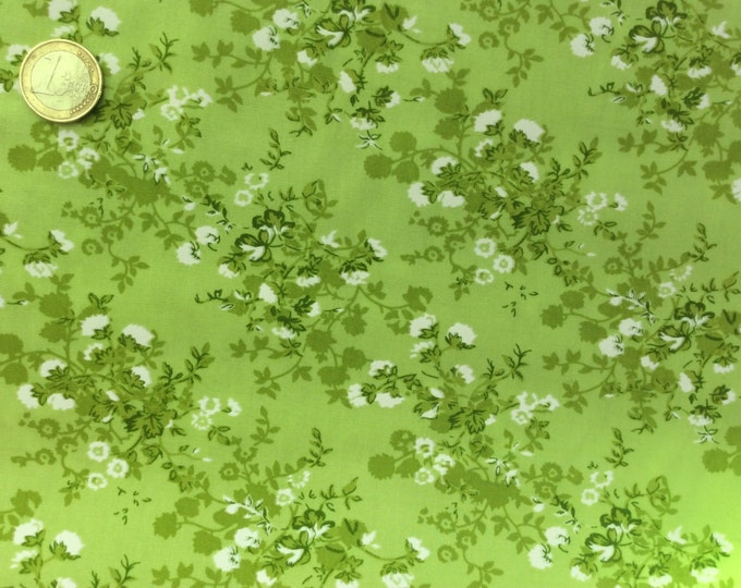 High quality cotton poplin dyed in Japan, Apple green floral print