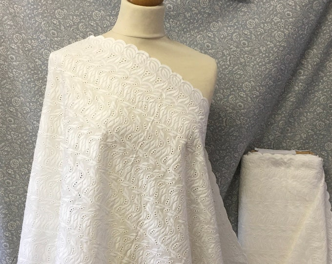 Off white embroidery anglaise, eyelet or broderie anglais cotton fabric, scalloped edges