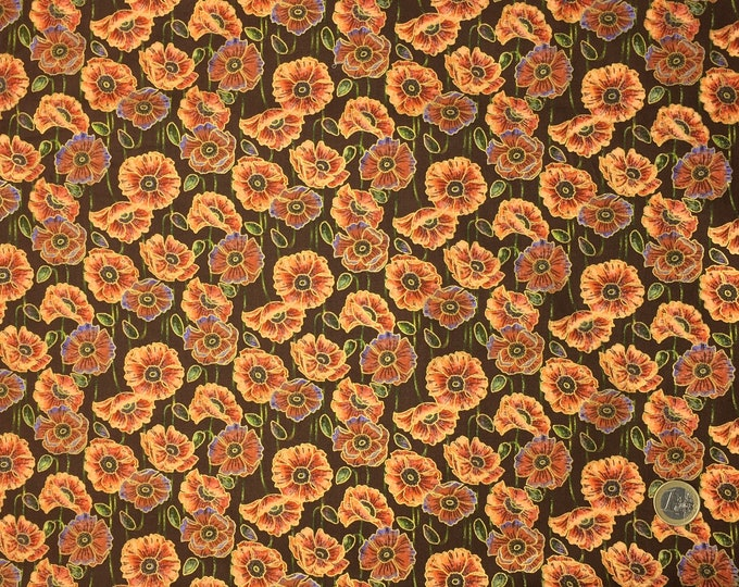 High quality cotton poplin, poppies